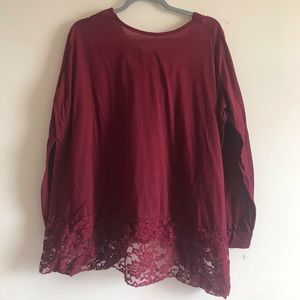 Tops - Burgundy hooded top with lace accent hood